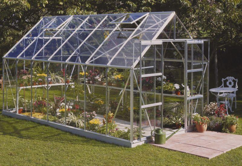 Model 14x8 - 8ft Double Door Greenhouse - Aluminium Frame + Toughened Glass + Base