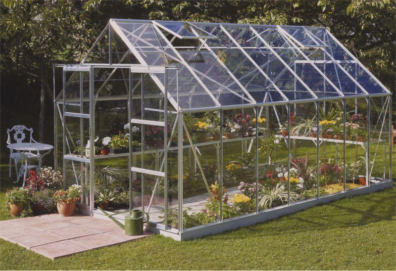 Model 12x8 - 8ft Double Door Greenhouse - Aluminium Frame + Toughened Glass + Base