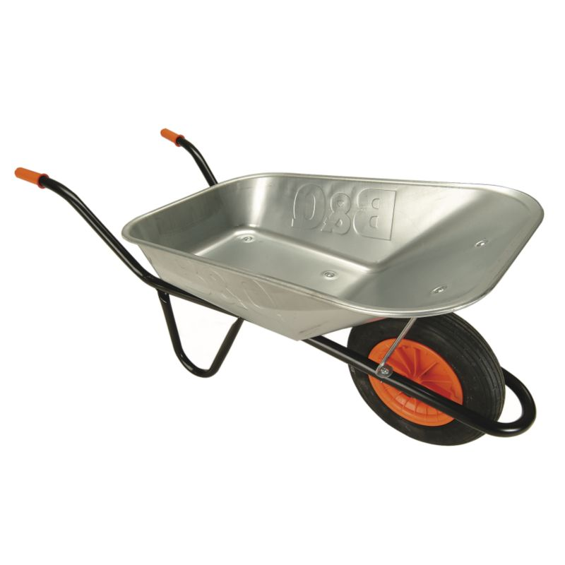 B&Q Premier Wheelbarrow Galvanised Pan Black Frame