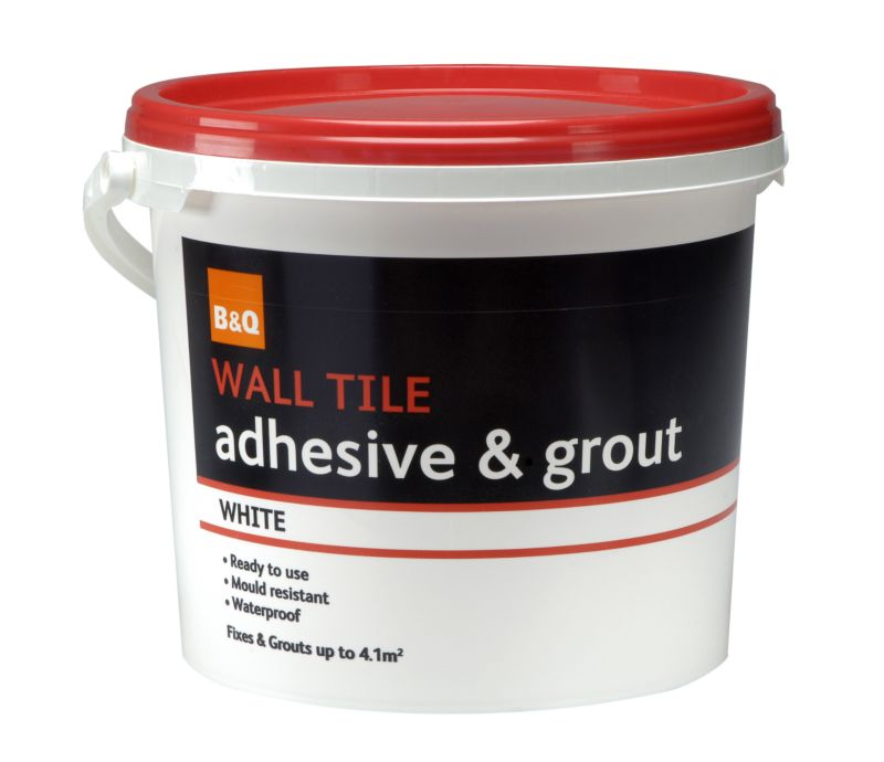 B&Q Wall Tile Adhesive & Grout White 4.6L/Up to 4.1m