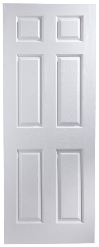 B&Q Broadland White Wood-Effect 6-Panel Internal Door (H)1,980 x (W)762 x (D)35mm