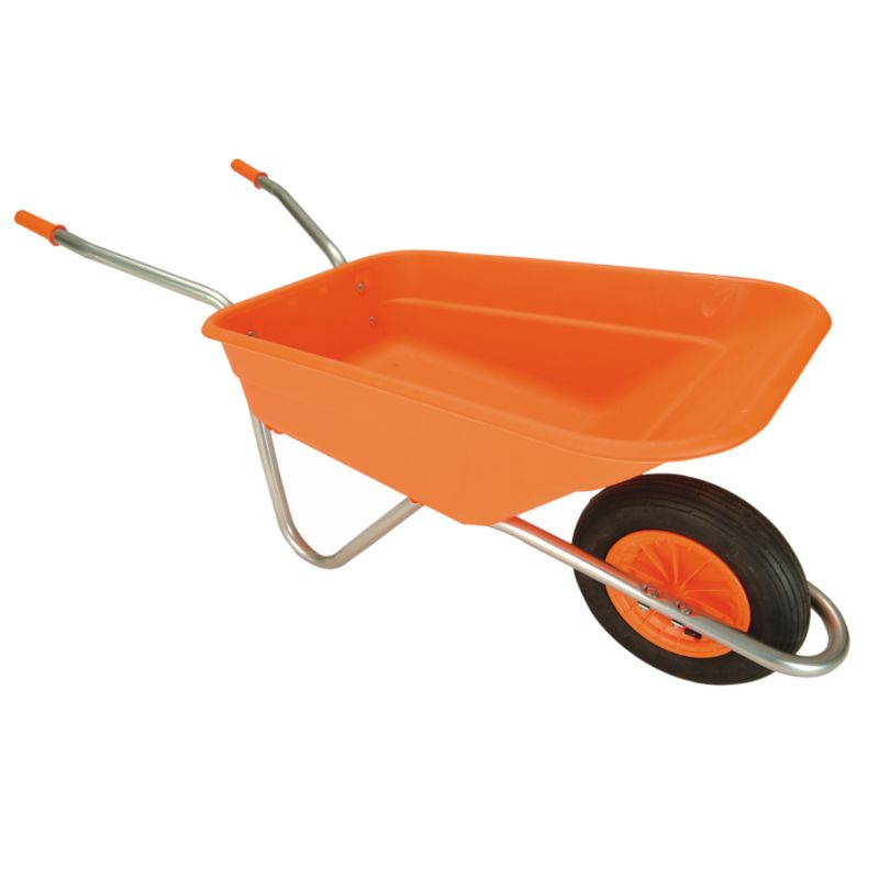 B&Q Sovereign Wheelbarrow Orange Pan Galvanised Frame
