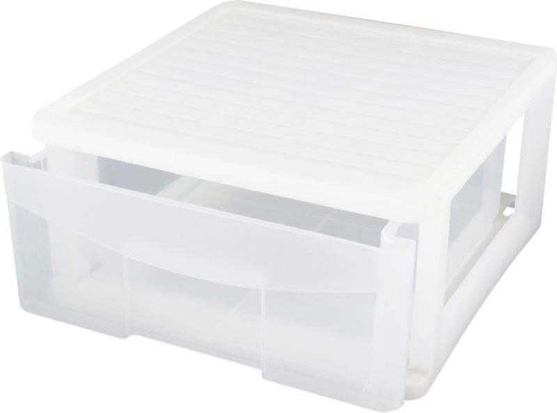 BandQ Form Stacking Drawer Box Plastic Clear