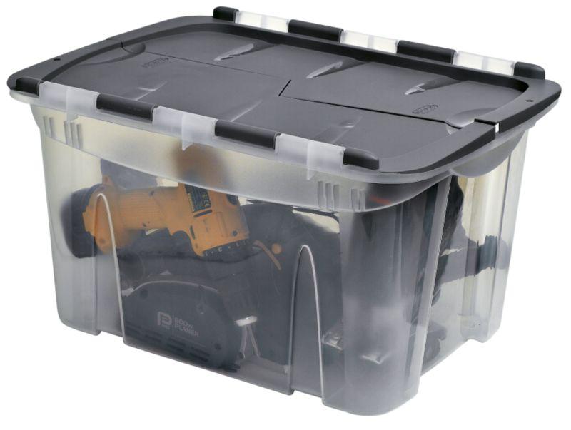 BandQ Form Locking Lid Crate Plastic Clear