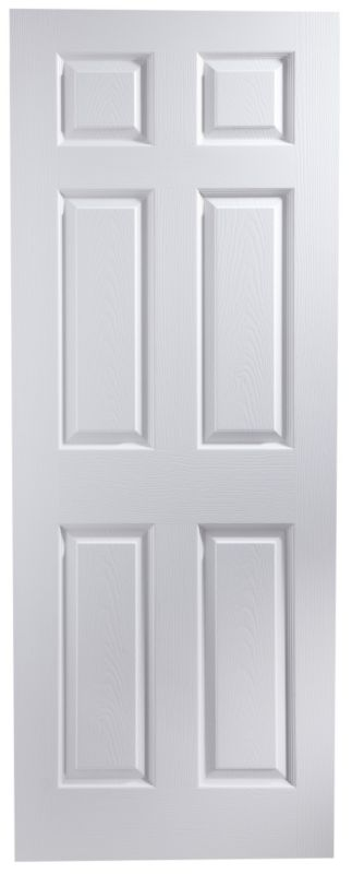 B&Q Broadland White Woodgrain 6 Panel 30 Min Interior Fire Door (H)1981 (W)762 (D)44mm