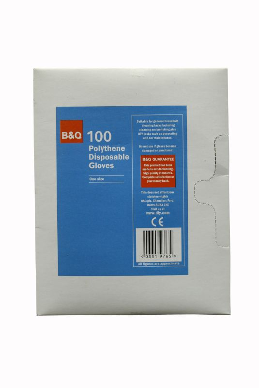 B and Q Polythene Disposable Gloves Clear 100 Pack