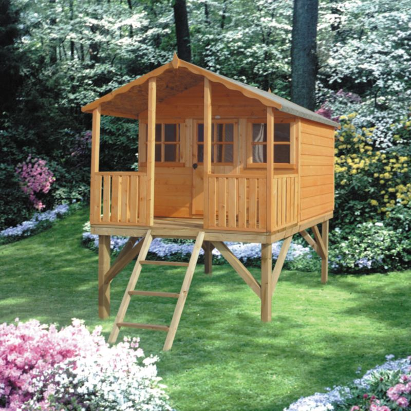Stork Playhouse With Verandah - (H) 2.55m x (W) 1.79m x (D) 1.79m