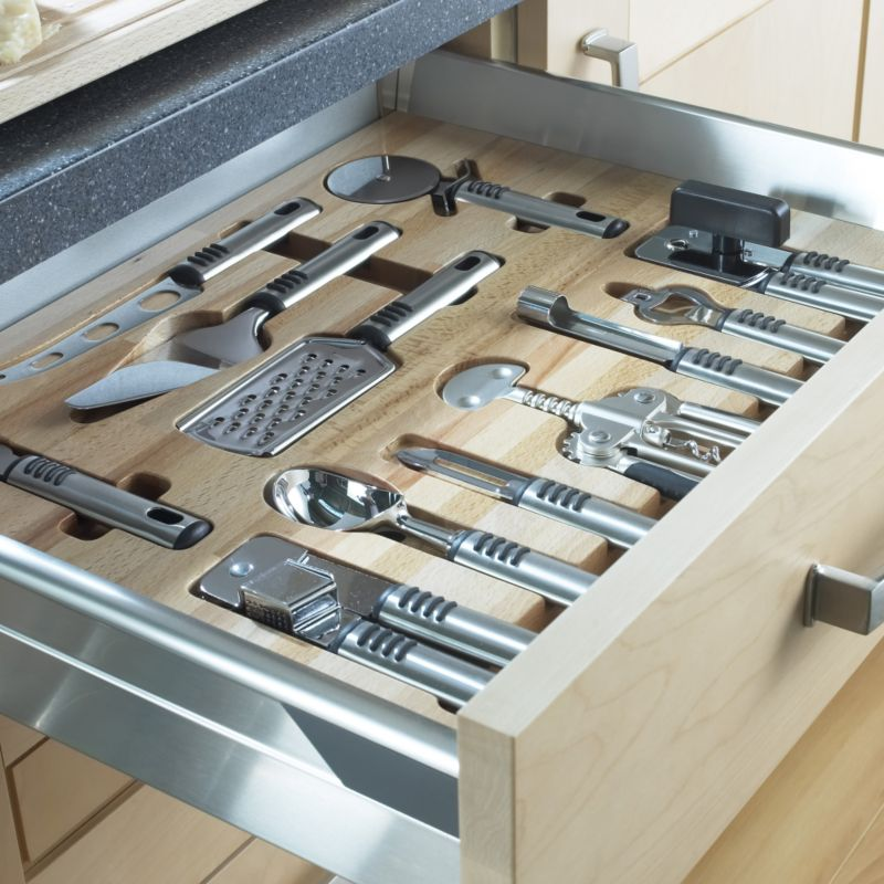 Select Wooden Utensil Tray and Utensils For 600mm Drawers Beech