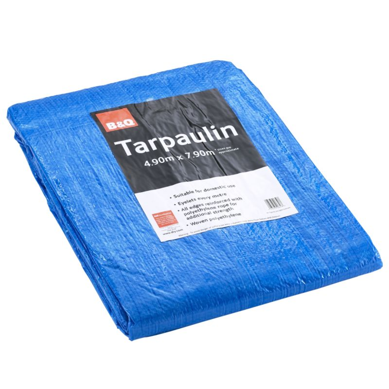 B&Q General Purpose Tarpaulin Blue 4.9 x 7.9m