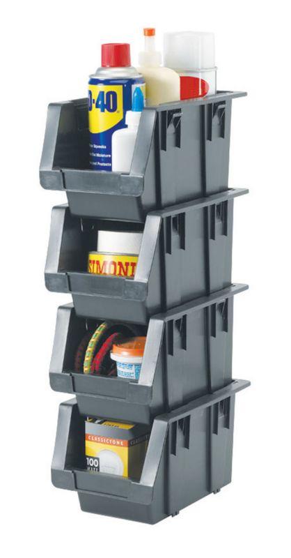 BandQ Storage Bin Set Grey 4 Piece