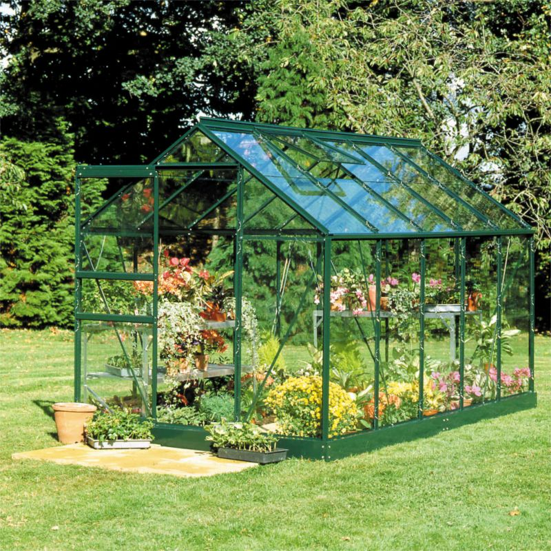 Model 6x6 6ft Single Door Greenhouse Green Painted Frame Toughened Glass Base