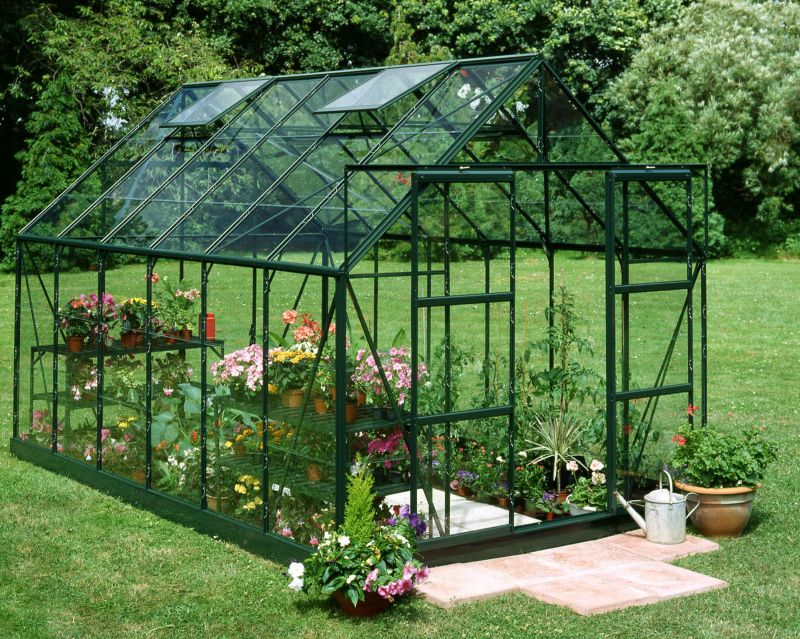 Model 14x8 - 8ft Double Door Greenhouse - Green Painted Frame + Horticultural Glass + Base