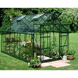 Save on this Model 14x8 - 8ft Double Door Greenhouse - Green Painted Frame + Horticultural Glass + Base