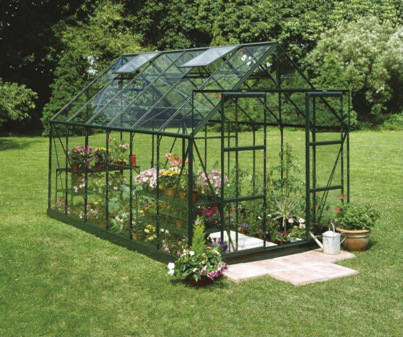 Model 10x8 - 8ft Double Door Greenhouse - Green Painted Frame + Toughened Glass + Base