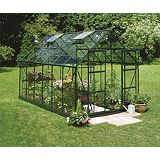 Save on this Model 10x8 - 8ft Double Door Greenhouse - Green Painted Frame + Toughened Glass + Base