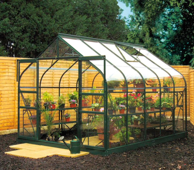 Model 6x8 - 8ft Curved Greenhouse - Green Painted Frame + Toughened Glass + Base