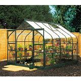 Save on this Model 6x8 - 8ft Curved Greenhouse - Green Painted Frame + Toughened Glass + Base