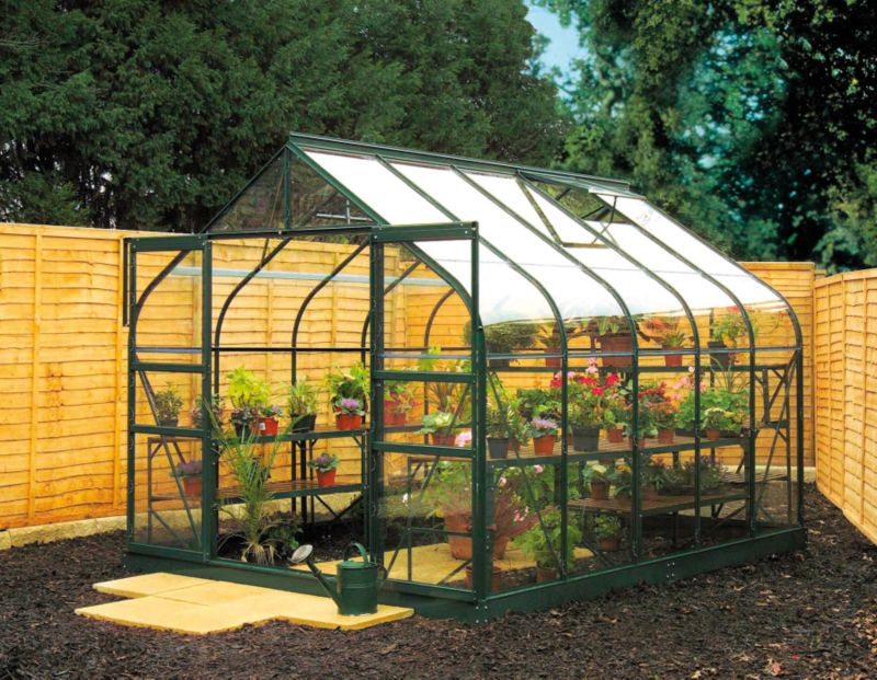 Model 8x8 - 8ft Curved Greenhouse - Green Painted Frame + Toughened Glass + Base