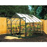 Save on this Model 8x8 - 8ft Curved Greenhouse - Green Painted Frame + Toughened Glass + Base