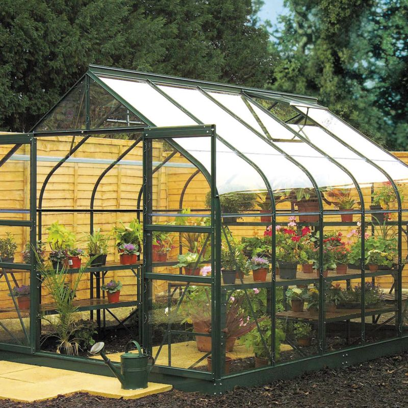 Model 12x8 - 8ft Curved Greenhouse - Aluminium Frame + Toughened Glass + Base