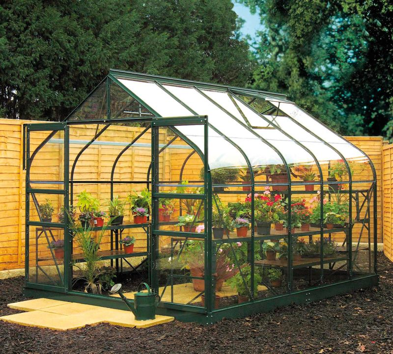 Model 12x8 - 8ft Curved Greenhouse - Green Painted Frame + Toughened Glass + Base