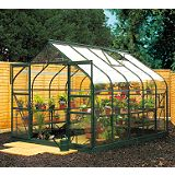Save on this Model 12x8 - 8ft Curved Greenhouse - Green Painted Frame + Toughened Glass + Base