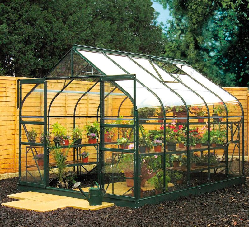 Model 14x8 - 8ft Curved Greenhouse - Green Painted Frame + Toughened Glass + Base