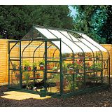 Save on this Model 14x8 - 8ft Curved Greenhouse - Green Painted Frame + Toughened Glass + Base