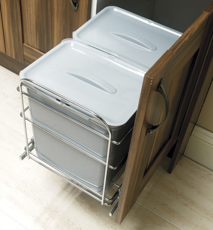 it Kitchens Pull Out Waste Bin For 400mm Unit Chrome Effect