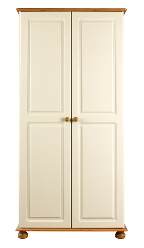 Oslo 2 Door Wardrobe Cream/Solid Pine