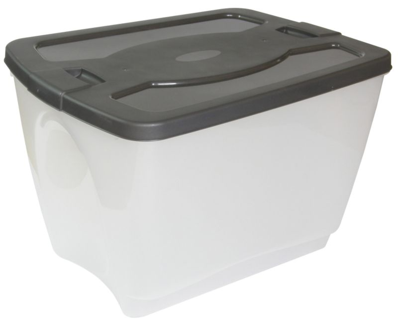 BandQ Core Tote Stacking Box Clear/Grey Medium