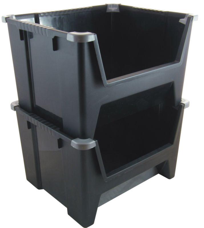 BandQ Core Jumbo Stacking Bin - Black