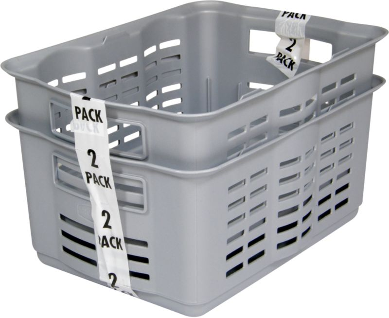 BandQ Core Basket Pack Of 2 Silver Effect Medium