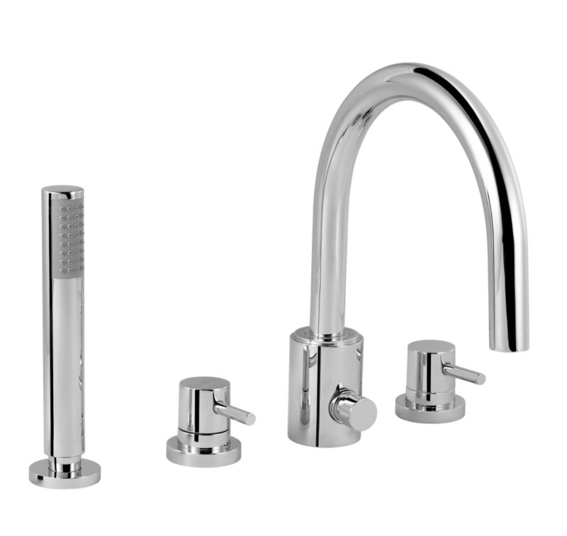 Minima 4 Tap Hole Bath Shower Mixer Chrome Effect