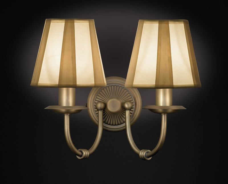 Ripley 2 Light Wall Light with Rigid Pleat Shades