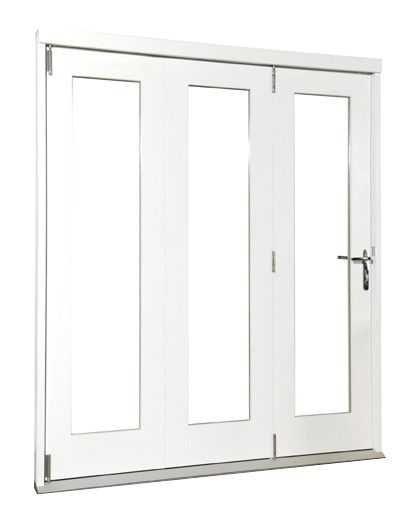 Wellington Softwood Fully Finished Reversible Sliding Folding Patio Door White BQWELL24SW Fits brickwork opening (H)2105 x (W)2405mm