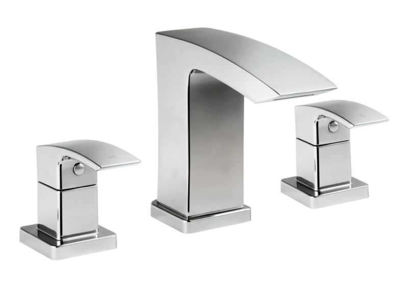 Metro 3 Tap Hole Bath Mixer Chrome Effect