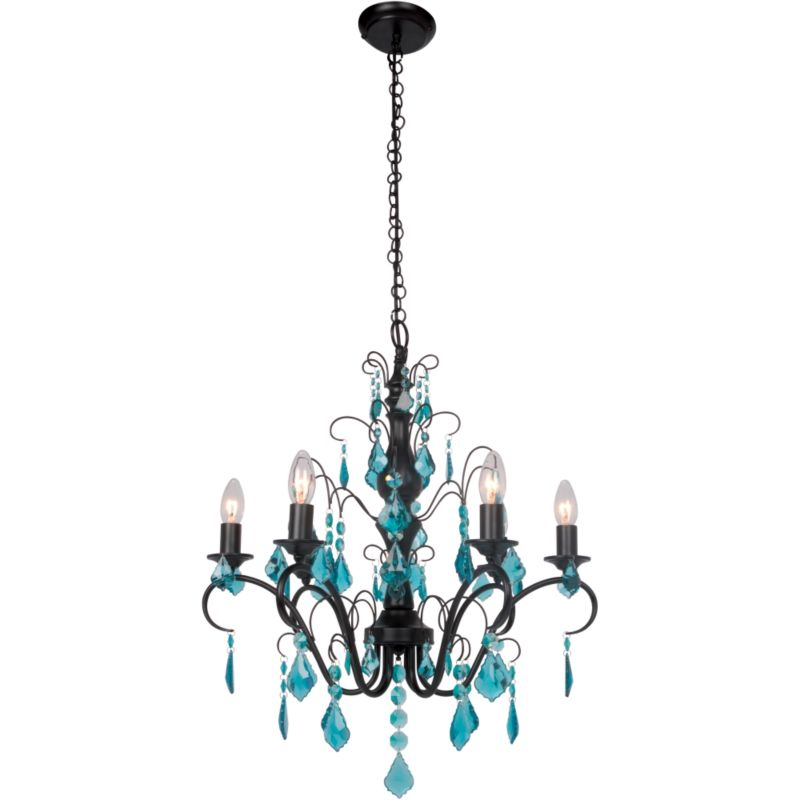 b q calista 6 light blue glass droplet pendant matt black