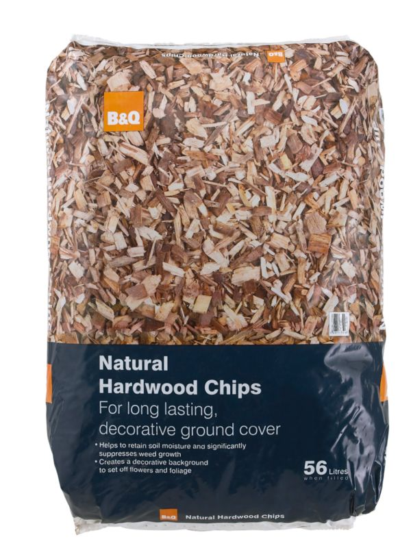B&Q Hardwood Chips Natural 56L