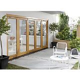 Save on this B&Q Oak Laminate Sliding Folding Patio Doorset - Brickwork Opening (H)2105 x (W)4205mm
