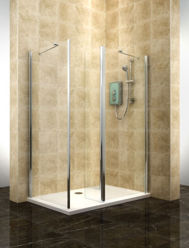Cooke & Lewis Deluvio Clear Glass Silver Walk-In Shower Enclosure (H)1900 (W)1200 (D)800mm