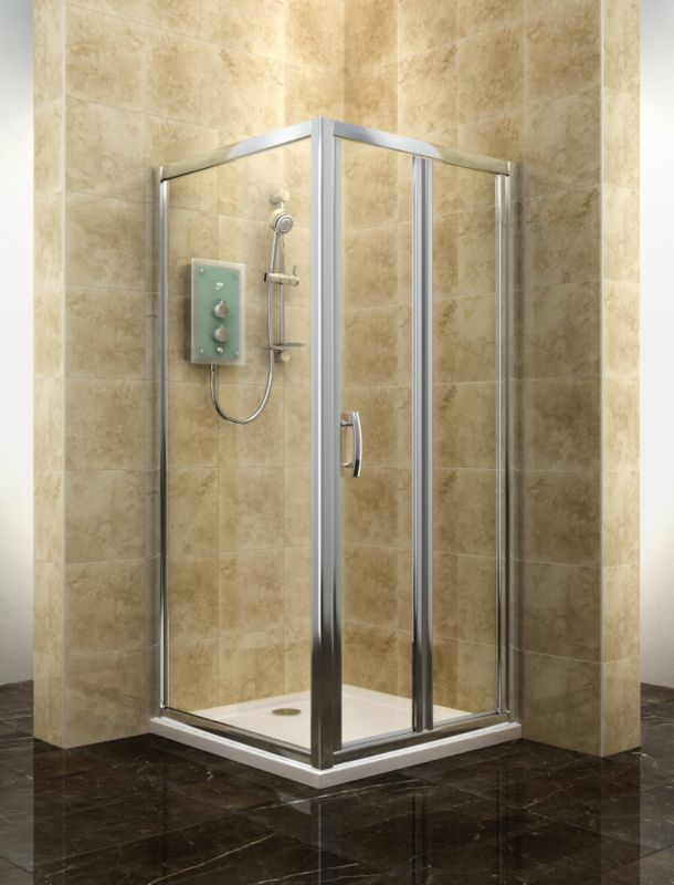 Cooke and Lewis Deluvio Bi Fold Door Shower Enclosure (H)19 x (W)76 x (D)76mm