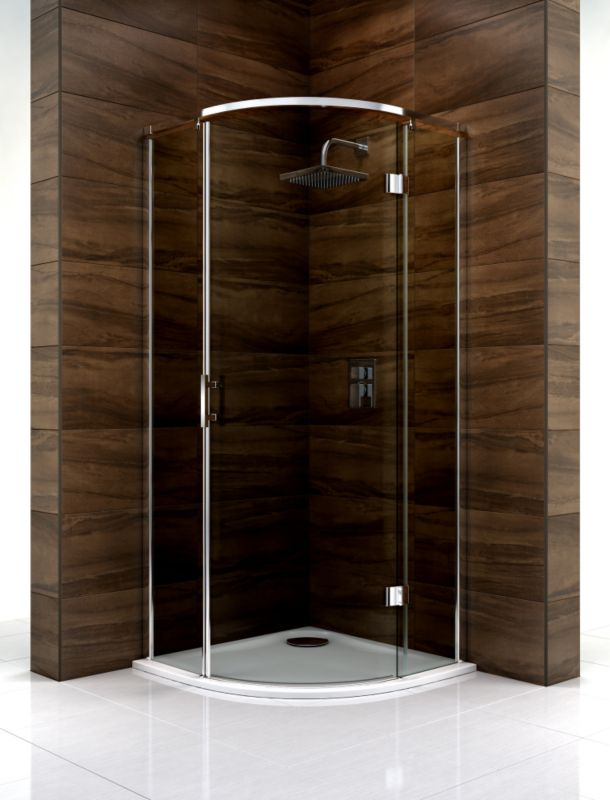 Cooke & Lewis Cascata Quadrant Shower Enclosure (H)1995 x (W)800 x (D)800mm Smoked Glass