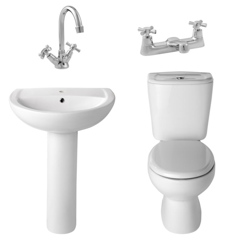 B&Q Treviso Toilet, Basin and Tap Pack
