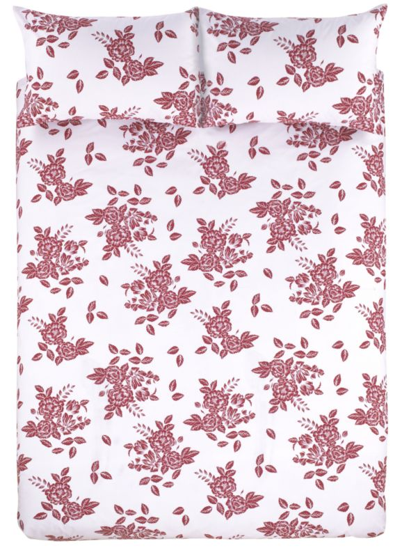 Colours by B&Q Rosa Double Printed Duvet Set Red/Grey