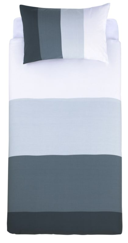 Colours by B&Q Wide Stripe Single Printed Duvet Set Black/Grey
