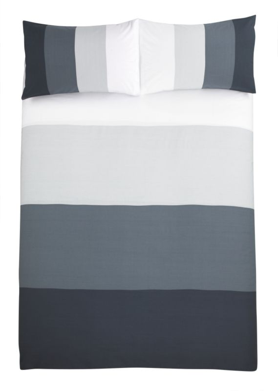 Colours by B&Q Wide Stripe Double Printed Duvet Set Black/Grey