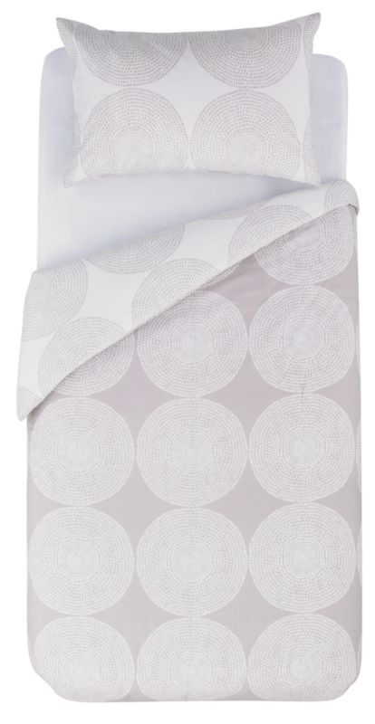 Colours by B&Q Textured Circles Single Printed Duvet Set Cream/Mocha