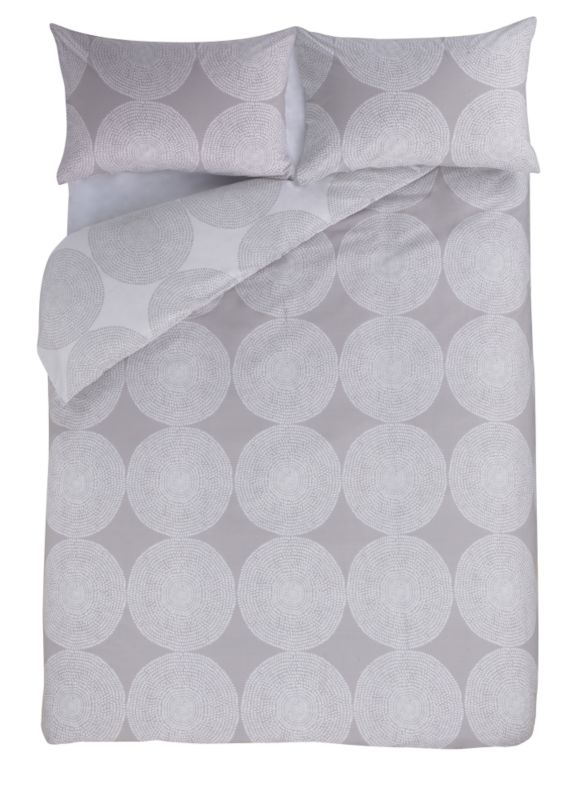 Colours by B&Q Textured Circles Double Printed Duvet Set Cream/Mocha