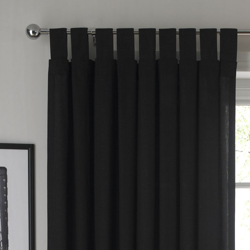 BandQ Tab Top Unlined Curtains Black